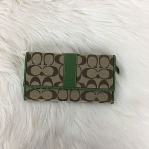 Coach Signature Trifold Check Book Wallet